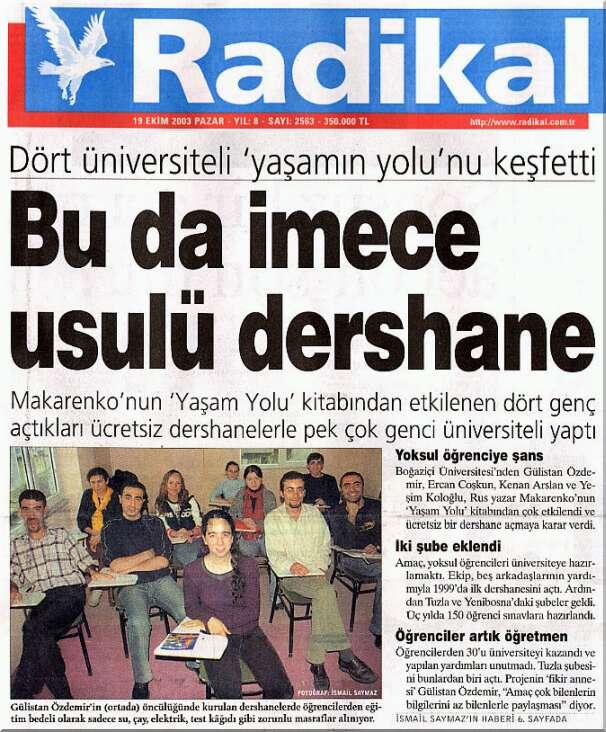 Radikal'in Manşet Haberinde 2 Alman Liseli (19.10.2003)